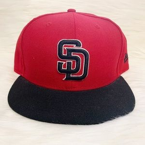 NEW ERA SD San Diego Padres Red and Black Hat 7.5